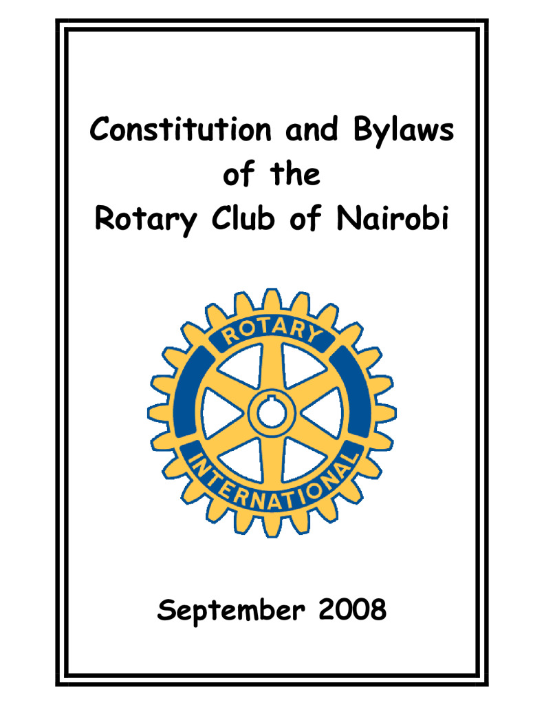 constitution and bylaws of the rotary club of nairobi rotary club