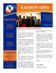 thumbnail of RAINBOW NEWSLETTER ISSUE 38 – JUNE 2017